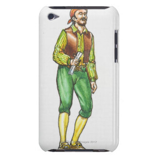 Illustration of pirate holding paper, with beard iPod touch case