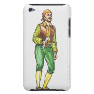 Illustration of pirate holding paper, with beard iPod touch cover