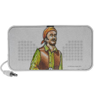 Illustration of pirate holding paper, with beard speakers
