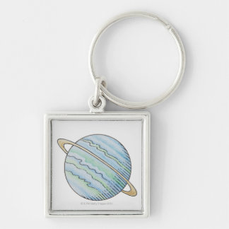 Illustration of planet with ring keychain