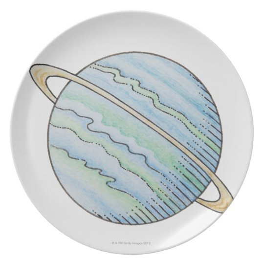 Illustration of planet with ring melamine plate