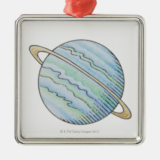 Illustration of planet with ring christmas tree ornaments