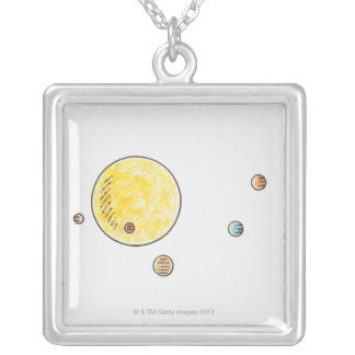 Illustration of planets orbiting the Sun Square Pendant Necklace