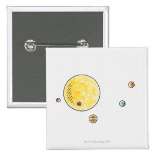 Illustration of planets orbiting the Sun Pinback Button
