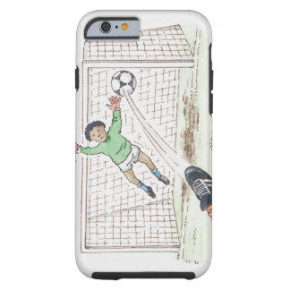 Illustration of player s foot kicking football iPhone 6 case