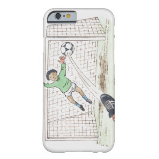 Illustration of player's foot kicking football barely there iPhone 6 case