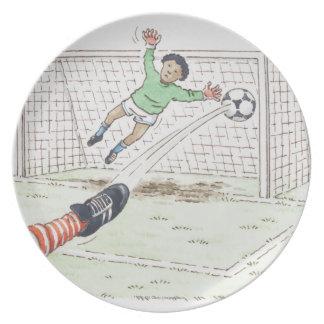 Illustration of player's foot kicking football dinner plate