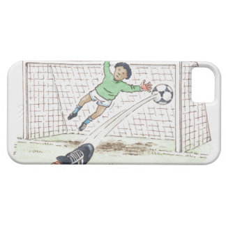 Illustration of player's foot kicking football iPhone SE/5/5s case