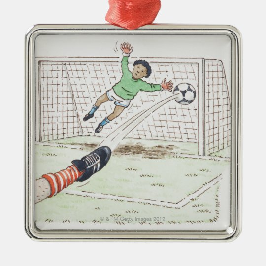 Illustration of player's foot kicking football metal ornament