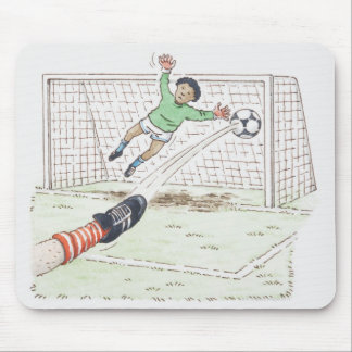 Illustration of player's foot kicking football mouse pad