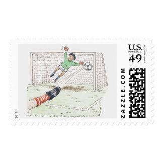 Illustration of player's foot kicking football postage