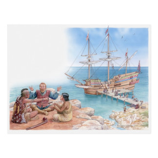 Illustration of Pocahontas and her father Postcard