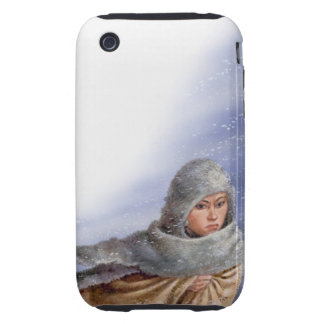 Illustration of Pocahontas in snow storm iPhone 3 Tough Cases