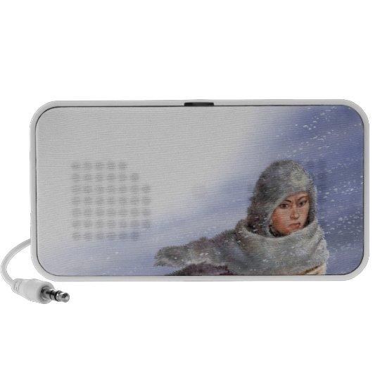Illustration of Pocahontas in snow storm Portable Speaker