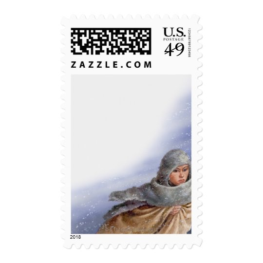 Illustration of Pocahontas in snow storm Postage