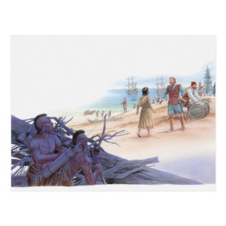 Illustration of Pocahontas talking with Captain Postcard