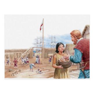 Illustration of Pocahontas visiting Captain John Postcard