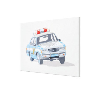 Illustration of police car with two policemen canvas print