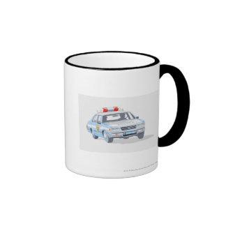 Illustration of police car with two policemen mug