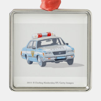 Illustration of police car with two policemen ornament