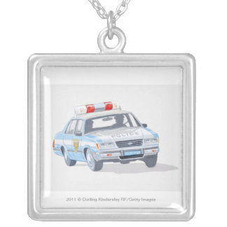 Illustration of police car with two policemen silver plated necklace