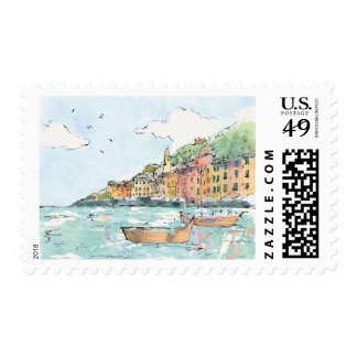 Illustration of Porofino Harbor Postage