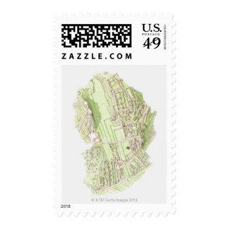 Illustration of pre-Columbian Inca city of Machu Postage Stamp