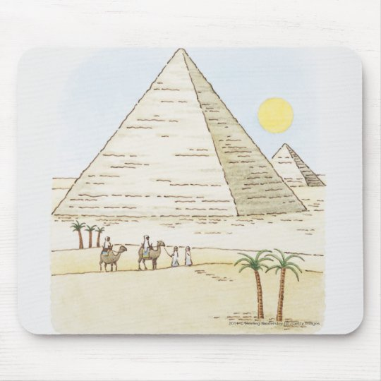 Illustration of pyramids and men with camels mouse pad