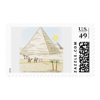 Illustration of pyramids and men with camels postage