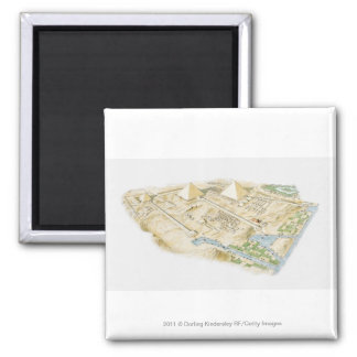 Illustration of Pyramids of Giza 2 Inch Square Magnet