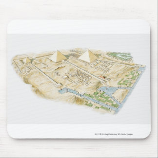 Illustration of Pyramids of Giza Mouse Pad
