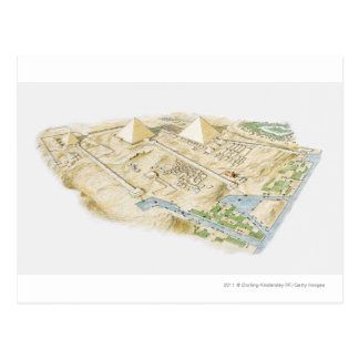 Illustration of Pyramids of Giza Postcard
