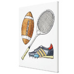 Illustration of rugby ball, tennis racquet, canvas print