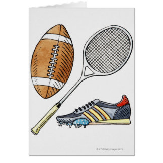 Illustration of rugby ball, tennis racquet, card
