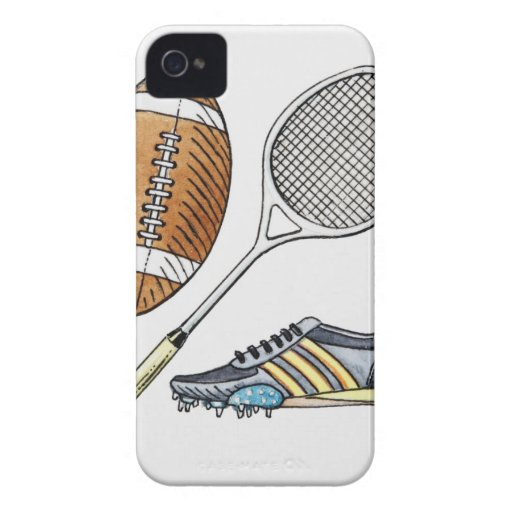Illustration of rugby ball, tennis racquet, Case-Mate iPhone 4 cases