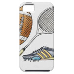 Illustration of rugby ball, tennis racquet, iPhone 5 cover