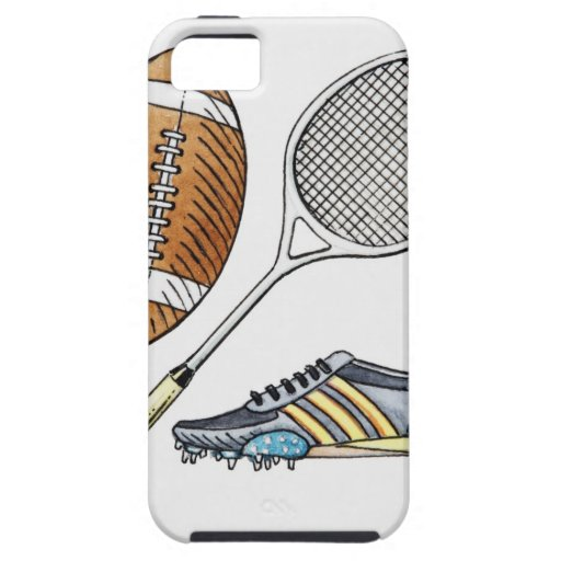 Illustration of rugby ball, tennis racquet, iPhone SE/5/5s case