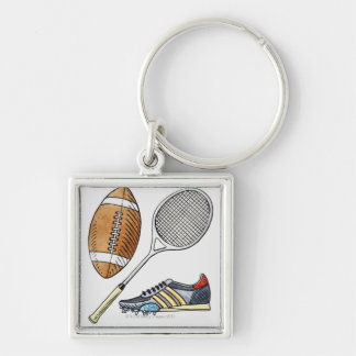Illustration of rugby ball, tennis racquet, keychain
