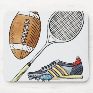 Illustration of rugby ball, tennis racquet, mouse pad