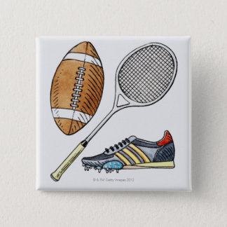 Illustration of rugby ball, tennis racquet, pinback button