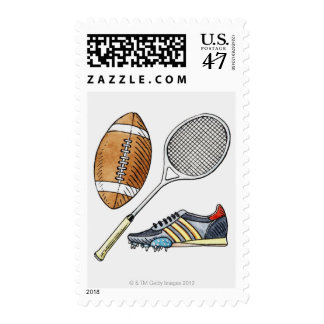 Illustration of rugby ball, tennis racquet, postage