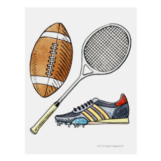 Illustration of rugby ball, tennis racquet, postcard
