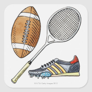 Illustration of rugby ball, tennis racquet, square sticker