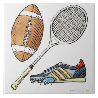 Illustration of rugby ball, tennis racquet, tile