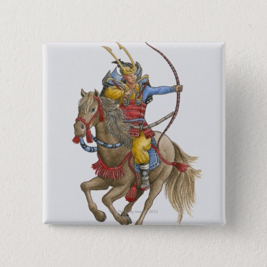 Illustration of Samurai on horseback holding bow Pinback Button