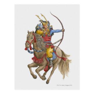 Illustration of Samurai on horseback holding bow Postcard