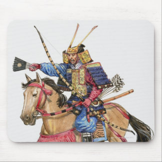 Illustration of Samurai on horseback Mouse Pad