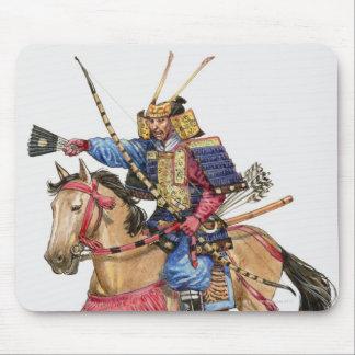 Illustration of Samurai on horseback Mouse Pad