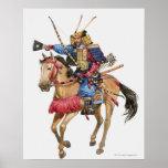 Illustration of Samurai on horseback Poster