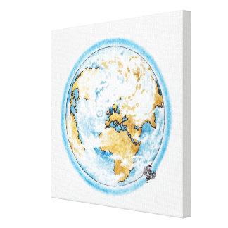 Illustration of satellite orbiting the Earth Canvas Print